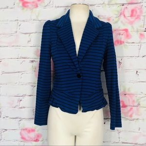 Anthropologie striped fitted blazer w ruffle hem